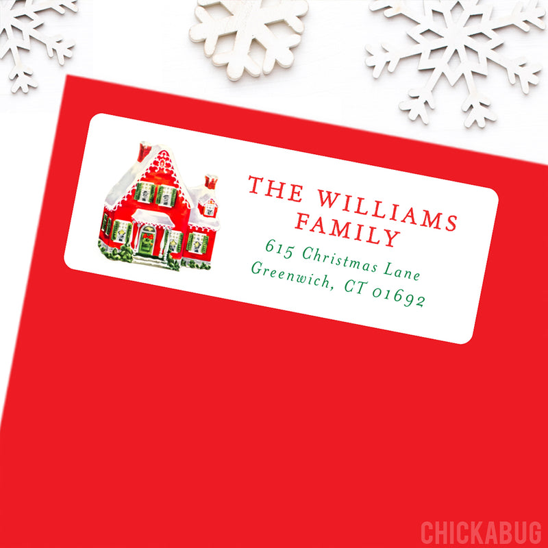 Vintage Christmas House Address Labels