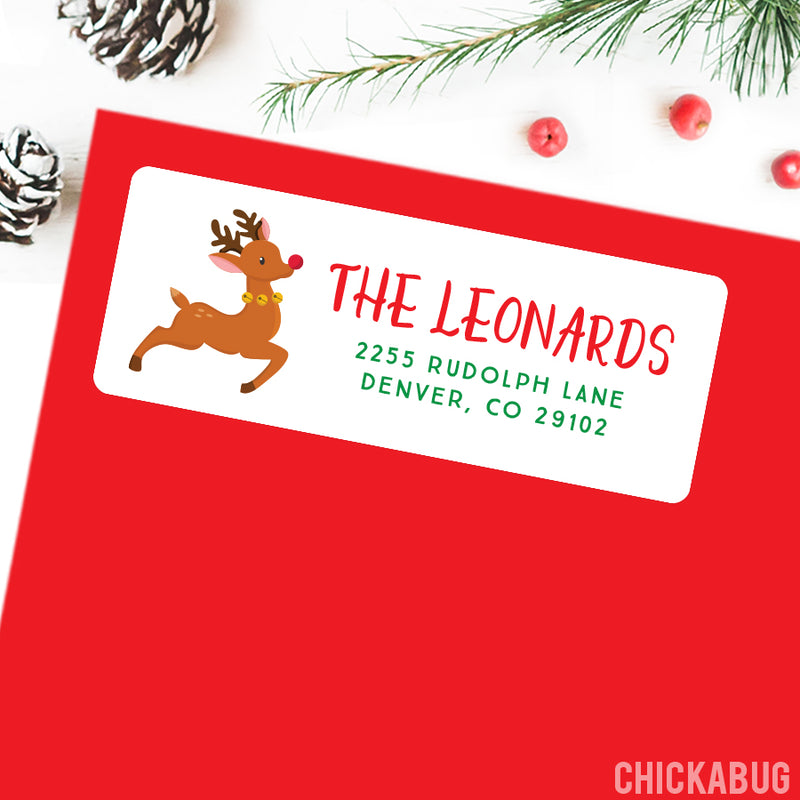 Christmas Address Labels - Rudolph