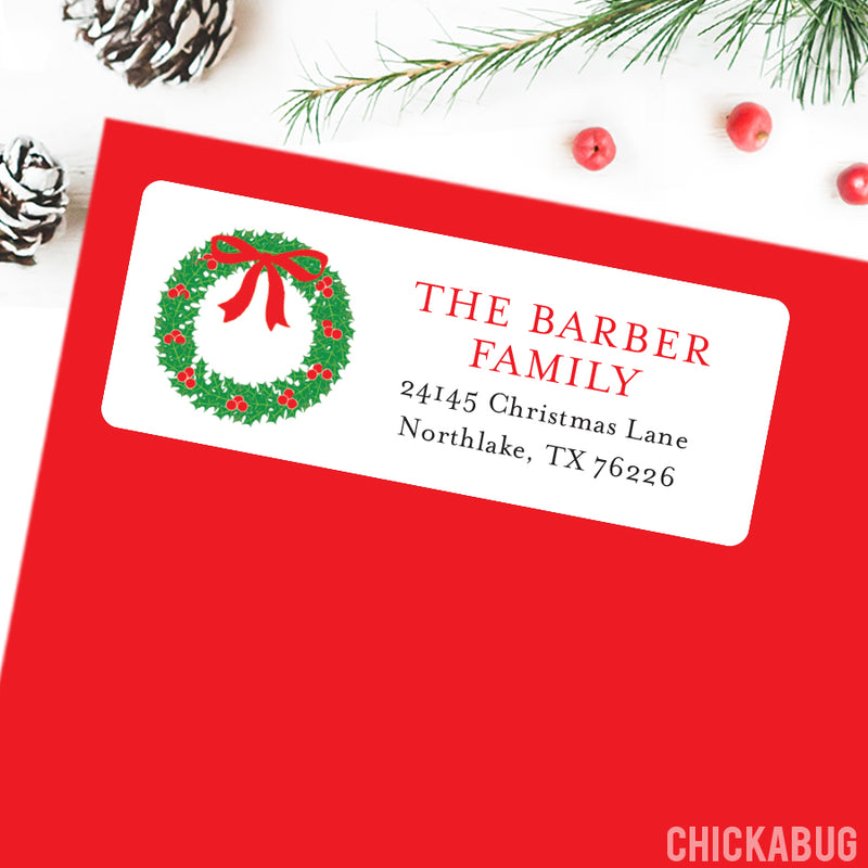 Christmas Address Labels - Christmas Wreath