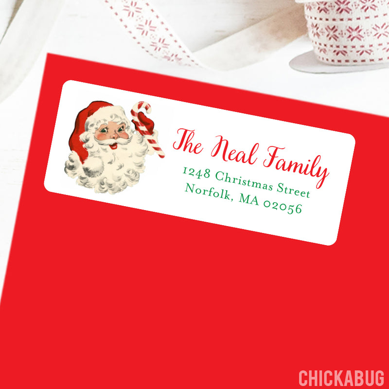 Old Fashioned Santa Christmas Address Labels