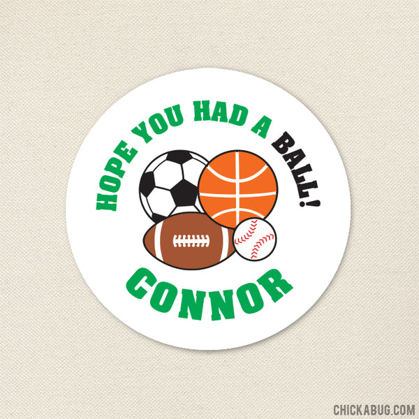 Green Sports Party Favor Stickers