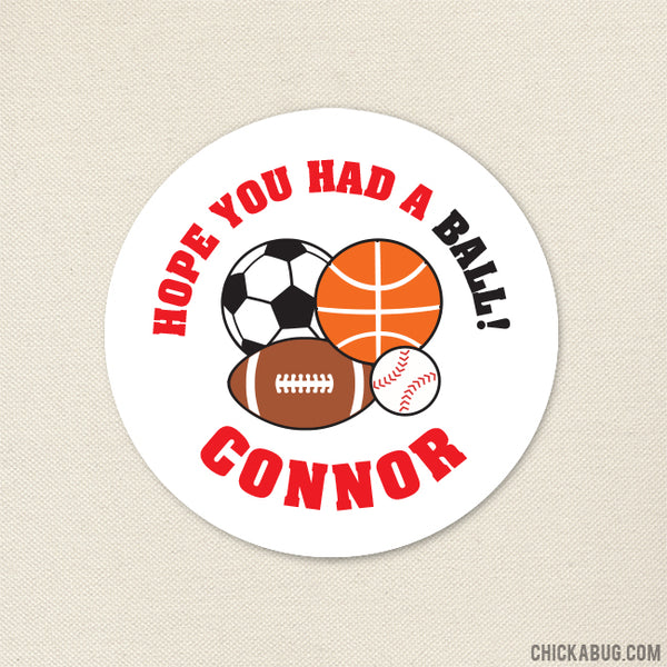 Red Sports Party Favor Stickers