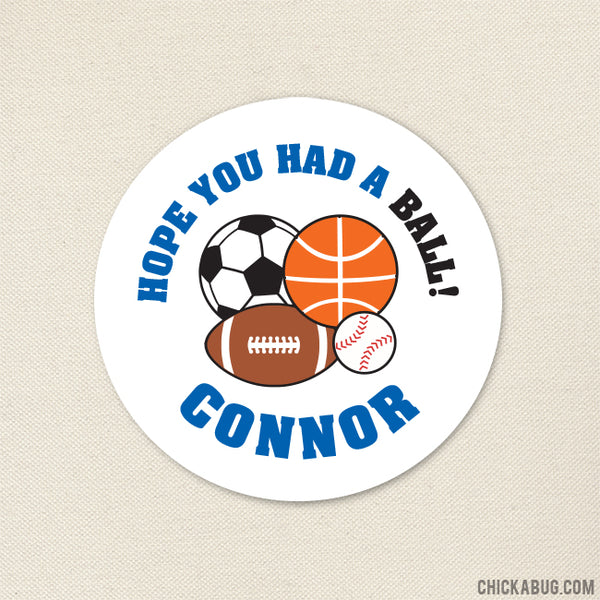 Blue Sports Party Favor Stickers