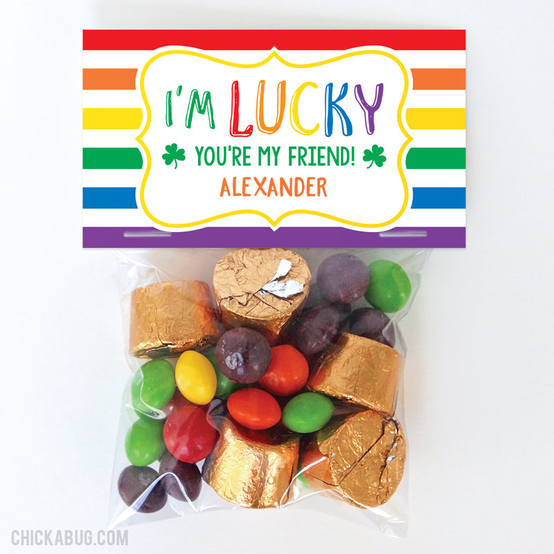 """I'm Lucky You're My Friend"" St. Patrick's Day Paper Tags and Bags"