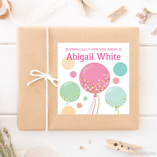 Confetti-Filled Balloons Gift Labels