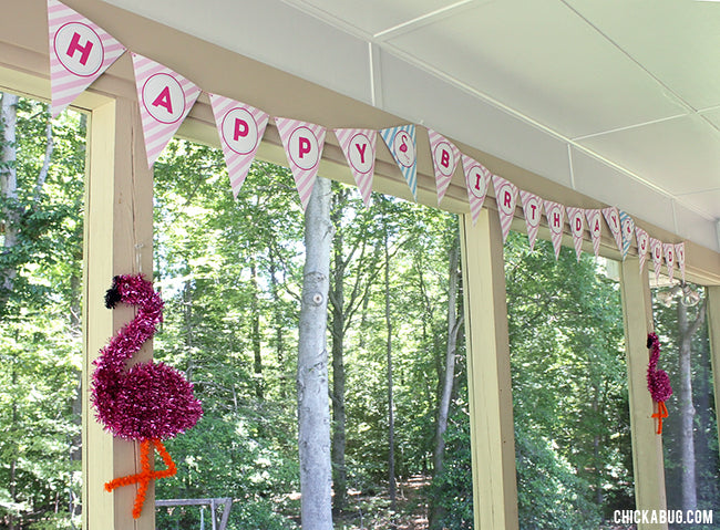 Flamingo Party Pennant Banner (INSTANT DOWNLOAD)