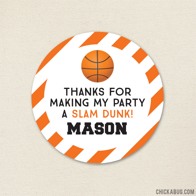 Basketball Party Favor Stickers