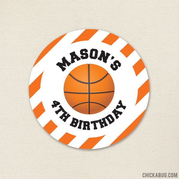 Basketball Birthday Stickers