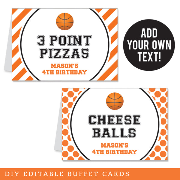 Basketball Party Editable Buffet Cards (INSTANT DOWNLOAD)