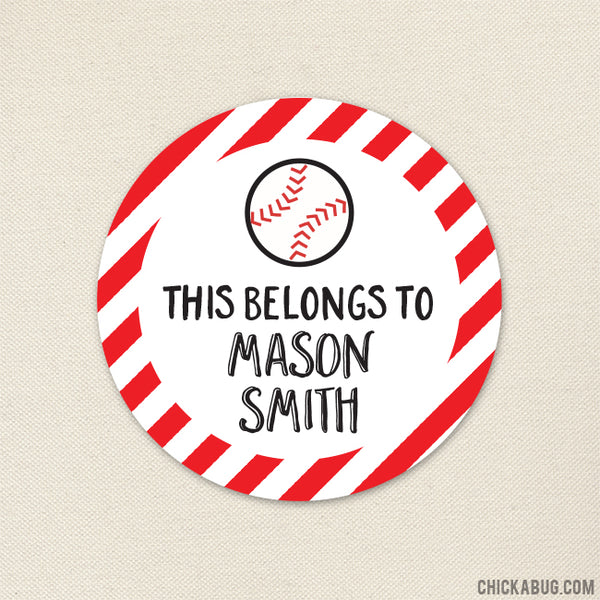 "Baseball ""This Belongs To"" Labels"