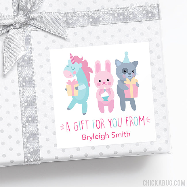 Sweet Birthday Animals Gift Labels