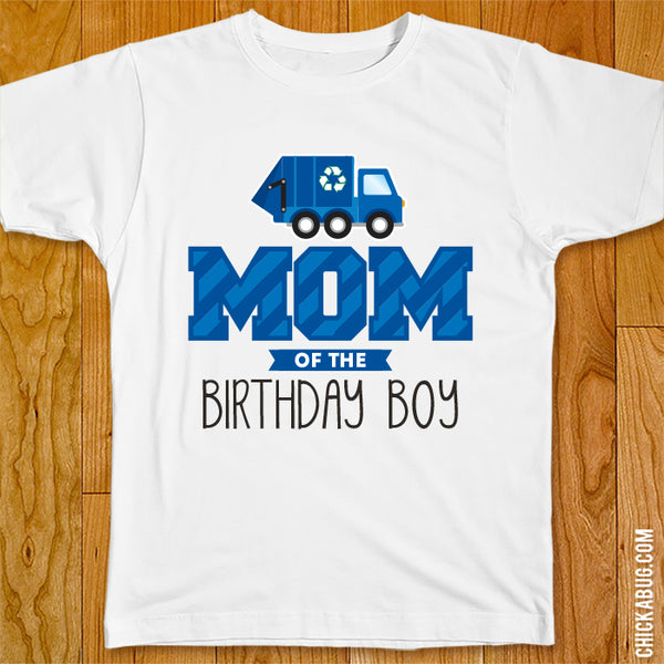 Garbage Truck Birthday Family Iron-On - Blue