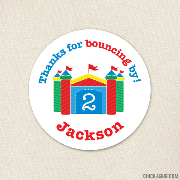 Bounce House Party Favor Stickers