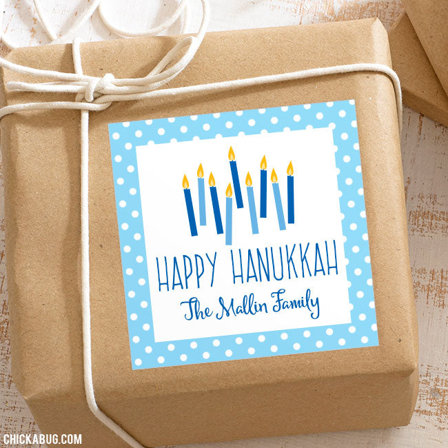 Hanukkah Candles Personalized Gift Stickers