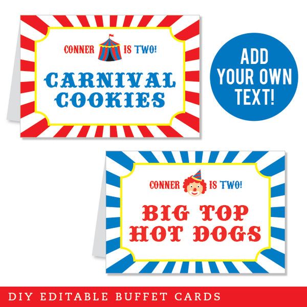 Carnival Party Editable Buffet Cards (INSTANT DOWNLOAD)