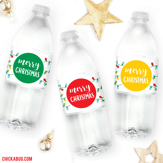 Christmas Lights Water or Soda Labels