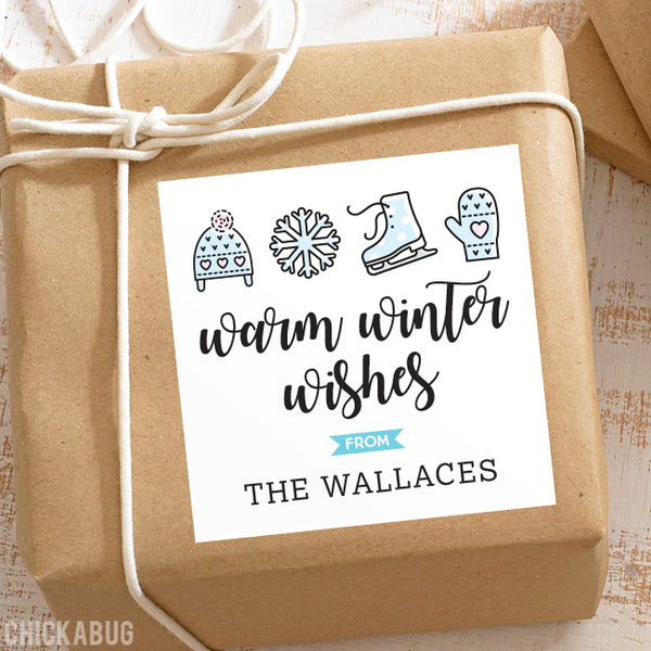 Warm Winter Wishes Holiday Gift Labels