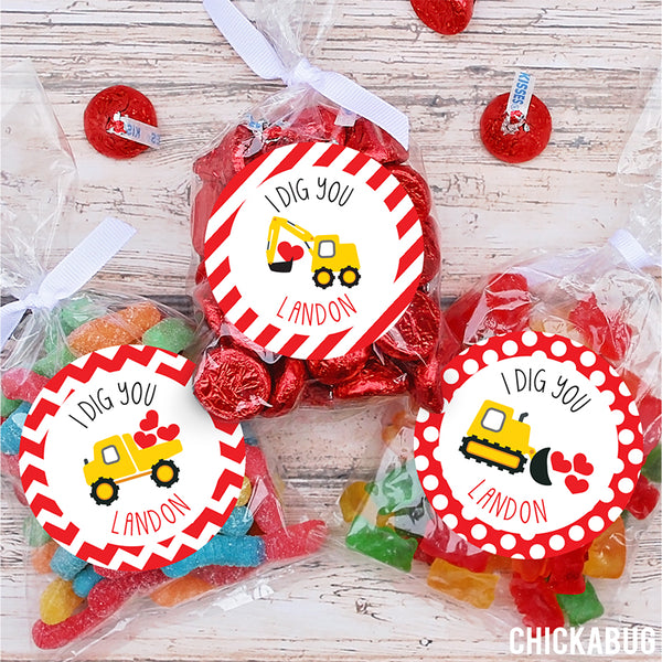"""I Dig You""  Construction Vehicles Valentine's Day Stickers"