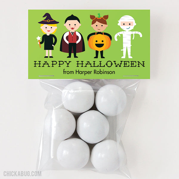 Costumed Kids Halloween Paper Tags and Bags