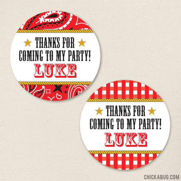 Country Western Party Favor Stickers