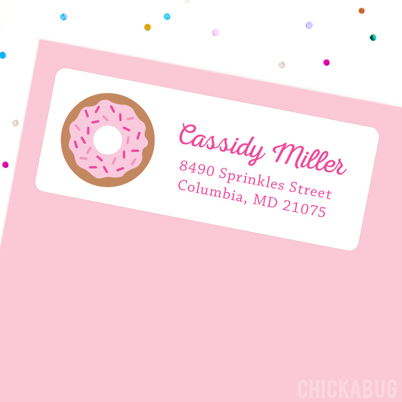 Pink Donut Address Labels