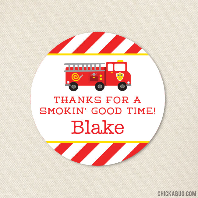 Fire Truck Party Favor Stickers