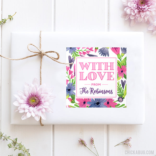 """With Love"" Floral Gift Labels"