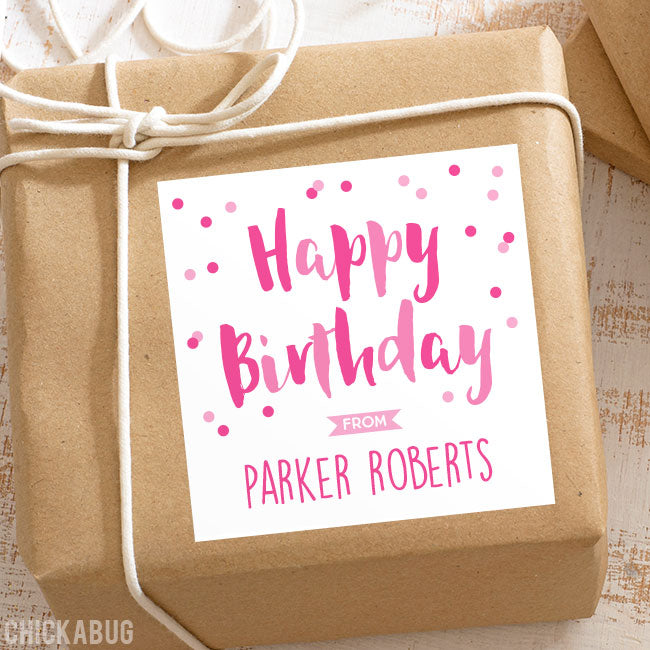 Pink Confetti Birthday Gift Labels