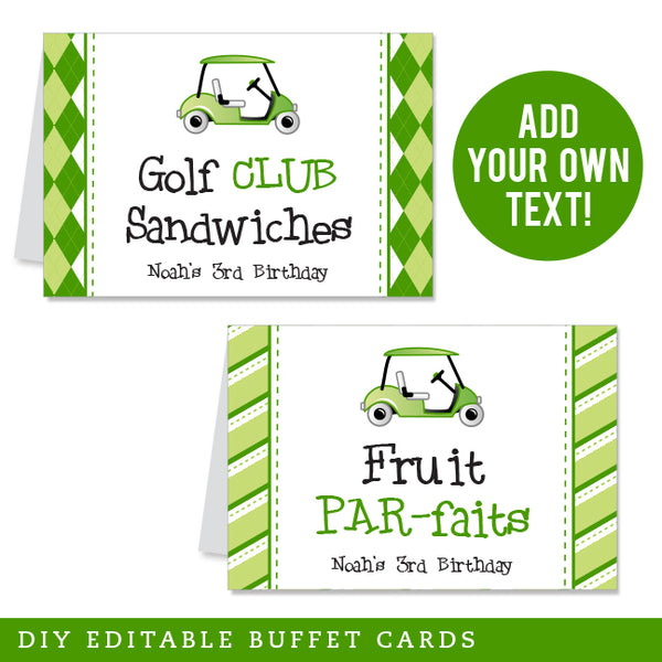 Golf Party Editable Buffet Cards (INSTANT DOWNLOAD)
