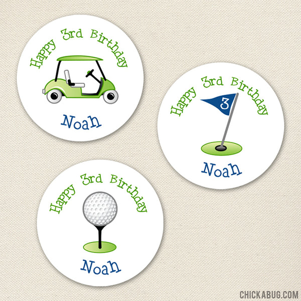 Blue Golf Birthday Stickers