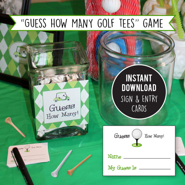 "Golf Party Game - ""Guess The Number of Golf Tees"" (INSTANT DOWNLOAD)"