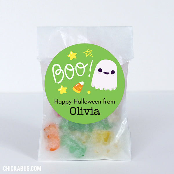 """Boo!"" Ghost Halloween Stickers (Green)"