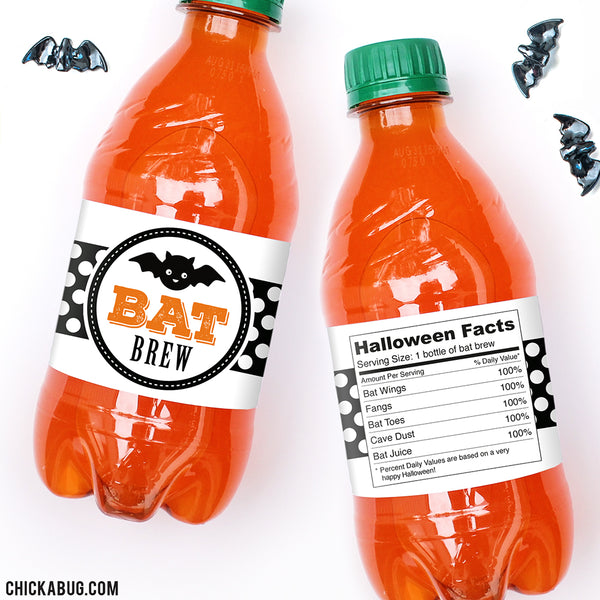 """Bat Brew"" Halloween Drink Labels"