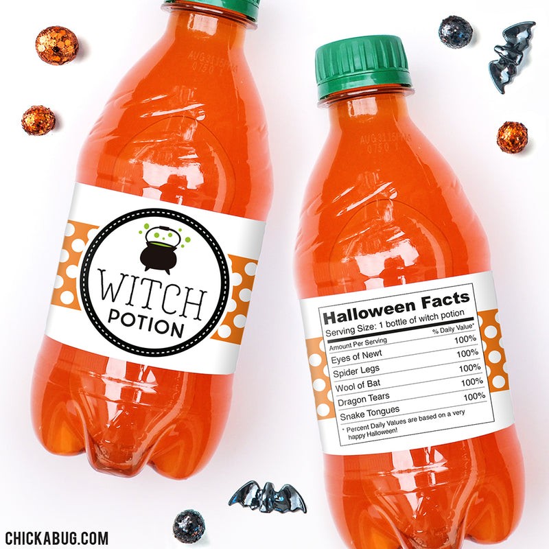 """Witch Potion"" Halloween Drink Labels"