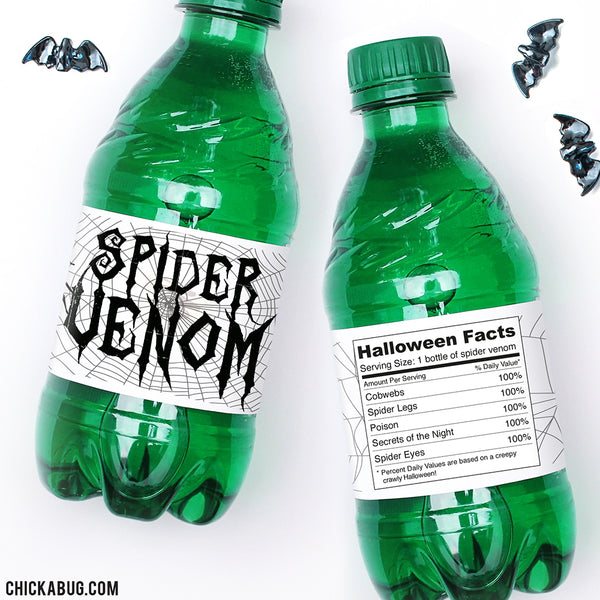 """Spider Venom"" Halloween Drink Labels"