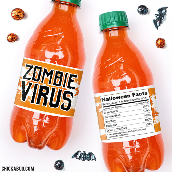 """Zombie Virus"" Halloween Drink Labels"
