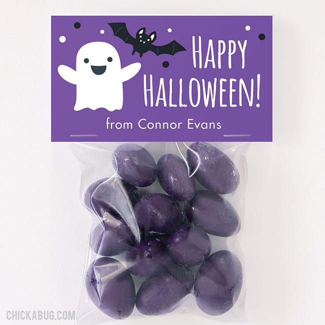 Ghost and Bat Halloween Paper Tags and Bags - Purple
