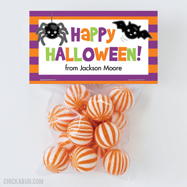 "Spider and Bat ""Happy Halloween"" Paper Tags and Bags"