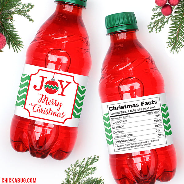 Joy Christmas Water or Soda Labels
