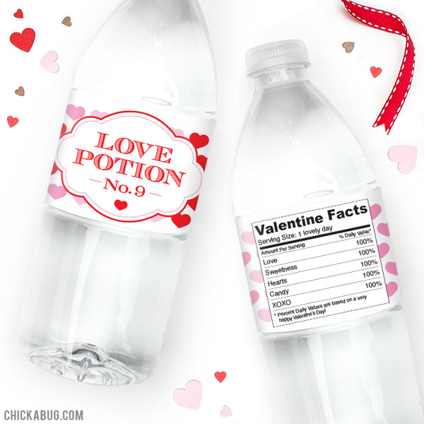 """Love Potion No. 9"" Water Bottle Labels"