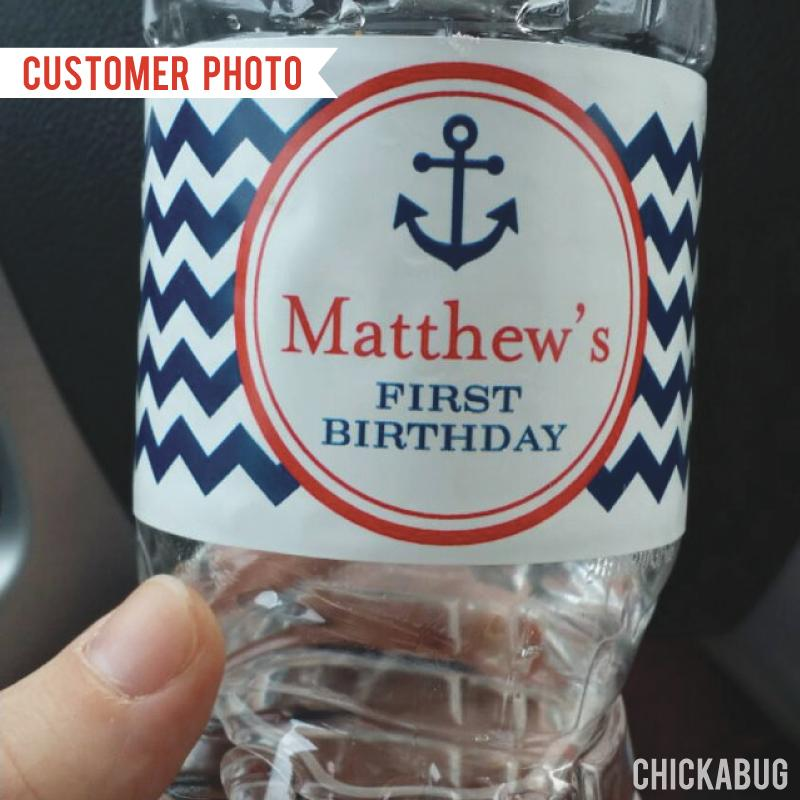 Nautical Water Bottle Labels - Blue