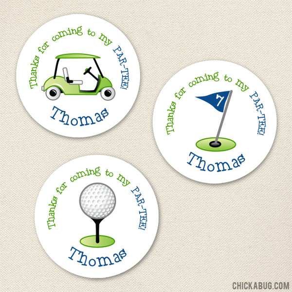 Blue Golf Party Favor Stickers