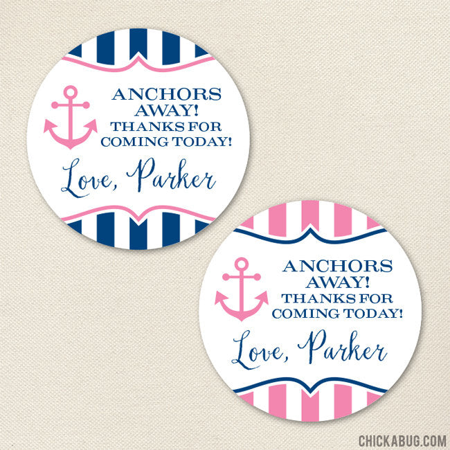 Pink Nautical Party Favor Stickers