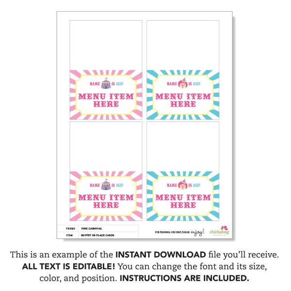Pink Carnival Party Editable Buffet Cards (INSTANT DOWNLOAD)