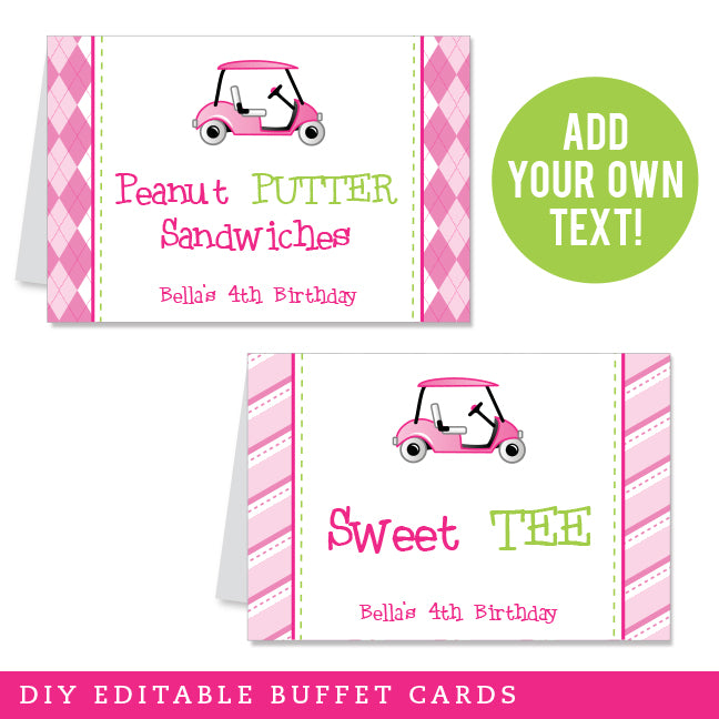 Pink Golf Party Editable Buffet Cards (INSTANT DOWNLOAD)
