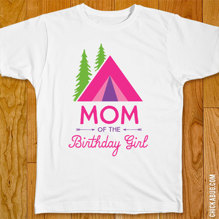 Pink Camping Birthday Family Iron-On