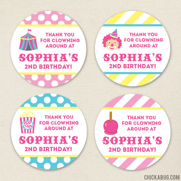 Pink Carnival Party Favor Stickers