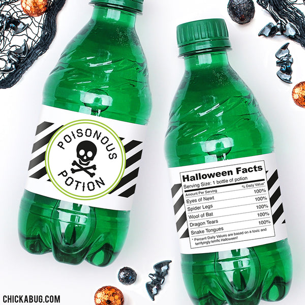 """Poisonous Potion"" Halloween Drink Labels"