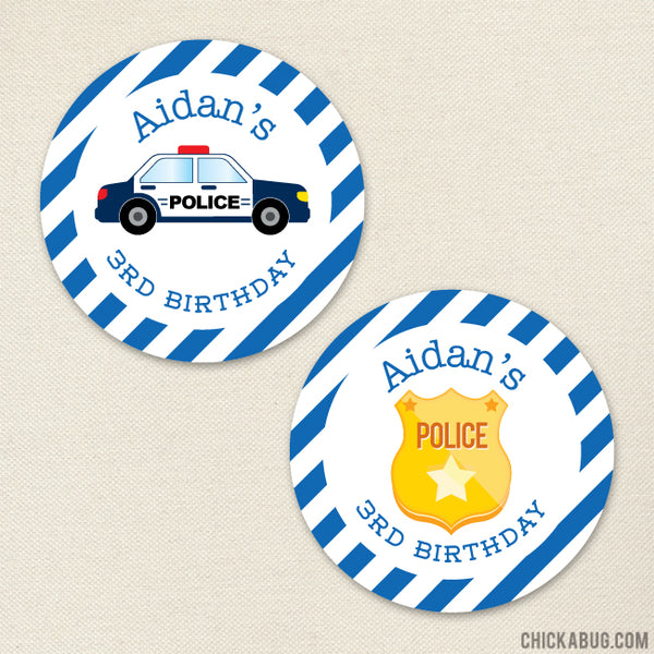 Police Birthday Stickers