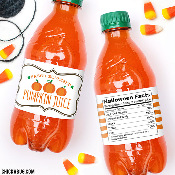 """Pumpkin Juice"" Halloween Drink Labels"